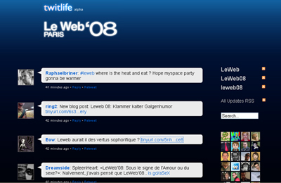 LeWeb'08 sur Twitlife, un plaisir de chaque instant.