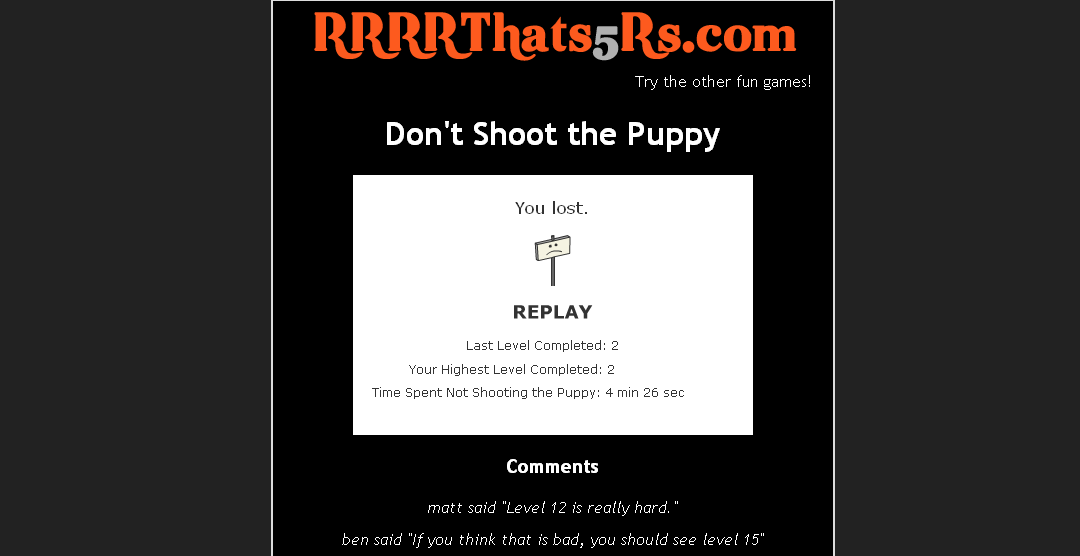 Tiens le lien : Don't Shoot The Puppy